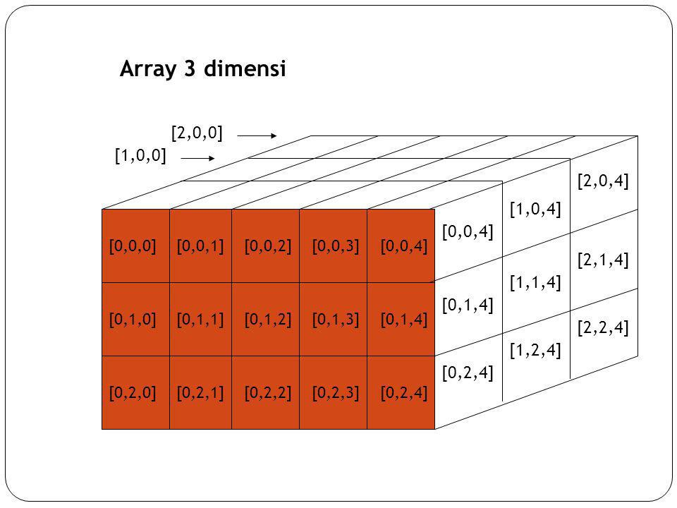 Array 3 dimensi [2,0,0] [1,0,0] [2,0,4] [1,0,4] [0,0,4] [2,1,4]